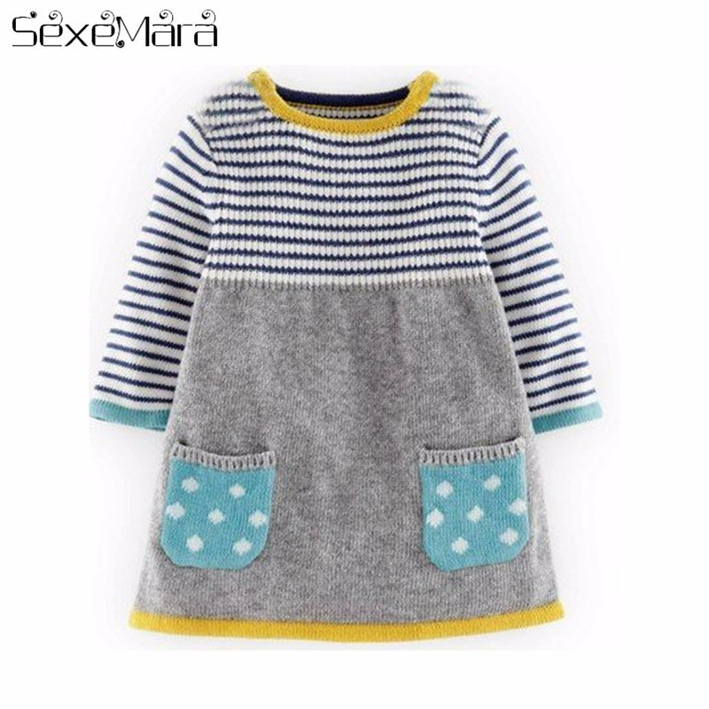 2018 Autumn Winter New Girls sweater dress Kids Baby Sweater Children Clothing Cotton Knitted skirt stripe Jumper Pullover