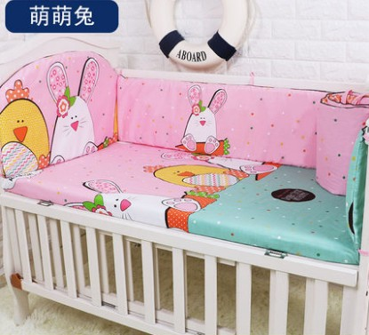 Promotion! 5PCS Cotton Baby Cot Bedding Set Newborn Cartoon Crib Bumper ,include:(bumpers+sheet)