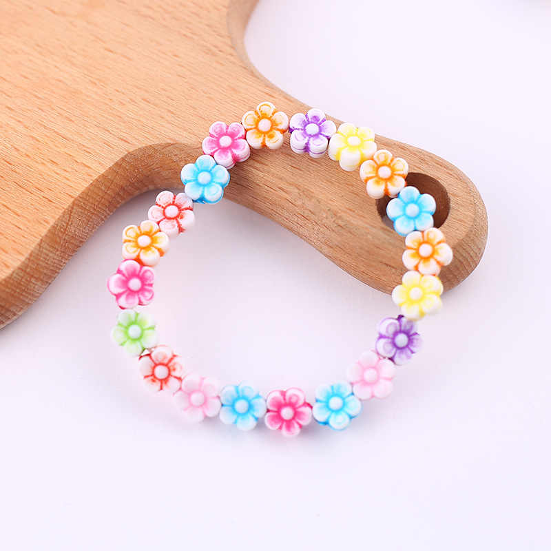 Summer Style Kids Children Cute Colorful Flowers Acrylic Bracelet&bangles  for Girl Birthday Party Jewelry Gift Wholesale