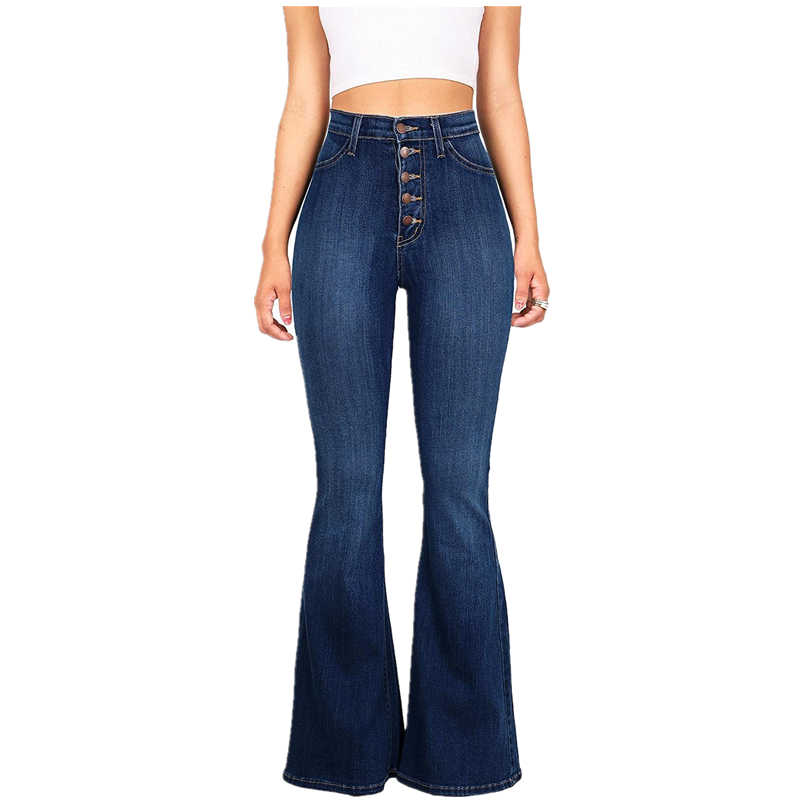 554f771e0 ... Retro High Waisted Flare Jeans For Women High Rise Bell Bottom Jeans  Stretch Slim Bootcut Jeans ...