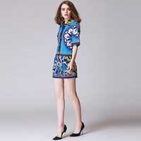 Fashion Runway Designer Suit Set 2018 New Summer Women S Printed Casual Shorts Pants Set High