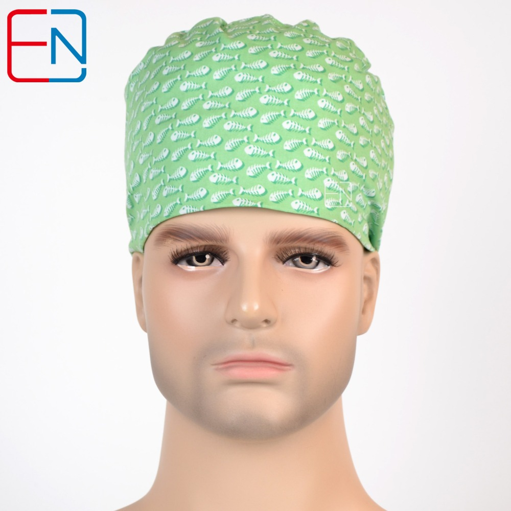 Hennar Surgical Caps For Men Women Hospital Scrub Cap Nurse Uniform Adjustable Fishbone Pattern Doctor Beauty Medical Cap Unisex