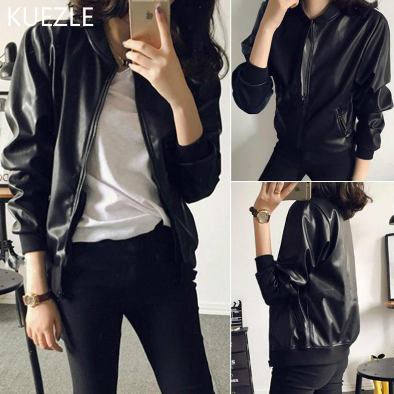 Leather   Jacket Female New Korean Slim Fashion PU coat women 2018 Motorcycle Short Jackets Black Baseball Shirt Coats Women