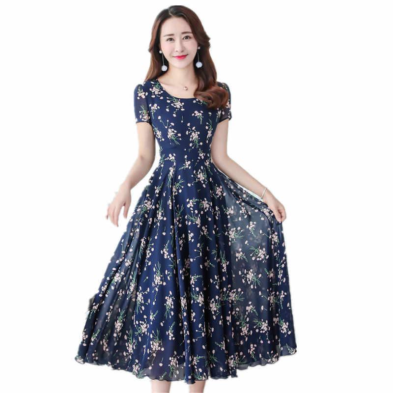Été Maxi robe femmes bohème longues robes Slim élégant grande taille imprimé fleurs en mousseline de soie grande balançoire plage Maxi Vestidos S-7XL