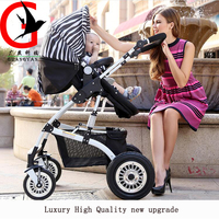 Strollers Baby Carriage High Landscape Pram Folding Baby Carriage For Newborn Sit And Lie Two Way