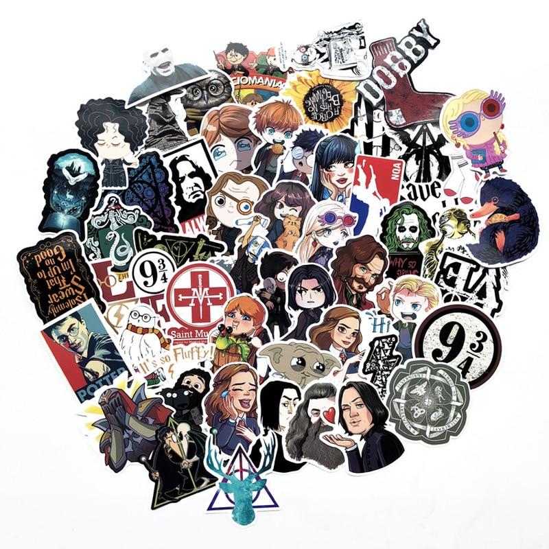 53 Pcs Cartoon Cute Harrypoter Stickers Vinyl Waterproof Graffiti Movie Sticker Bomb Skateboard Luggage Laptop For Kids Toy