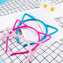 Fashion Cute Girl Cartoon Ornaments Cat Ears Head Band Charming Women Cotton Blends Small Demon Cat Headwear(China)