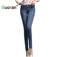 Skinny denim jeans pencil pants women Stretch ladies slim jeans leggings 2018 new plus size femme washed jeans trousers Skinny