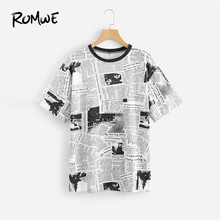 272dbb82a ROMWE Newspaper Print Tee Round Neck Short Sleeve Casual Women Clothing  Summer Black and White T Shirt