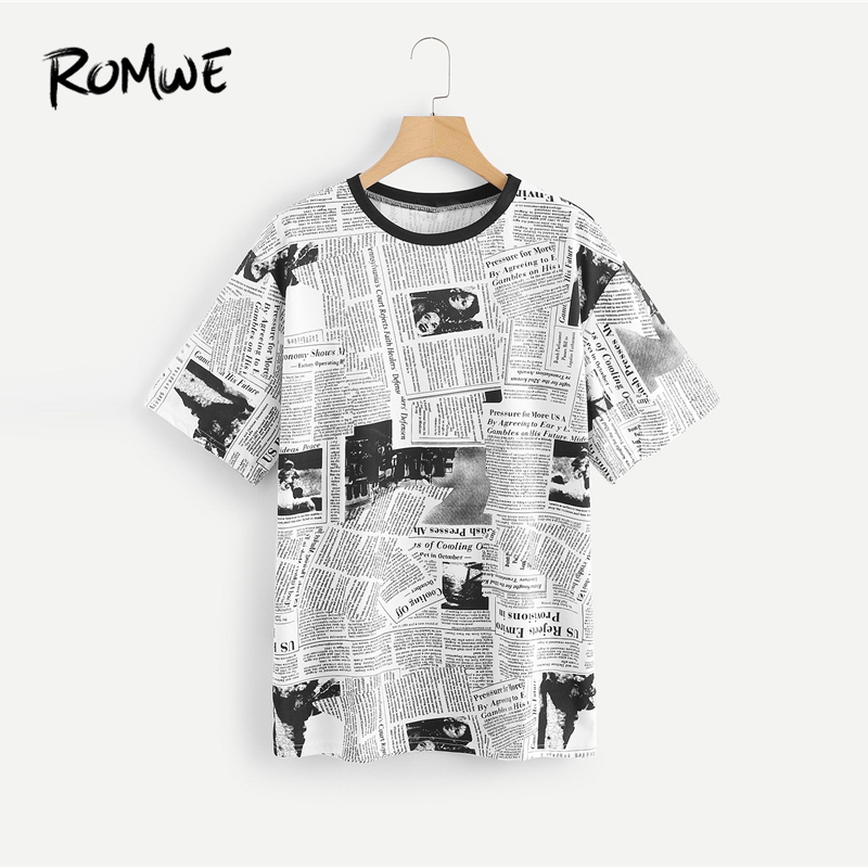 ROMWE Newspaper Print Pullovers Tee 2018 Round Neck Short Sleeve Casual Women Clothing Summer Black and White T Shirt