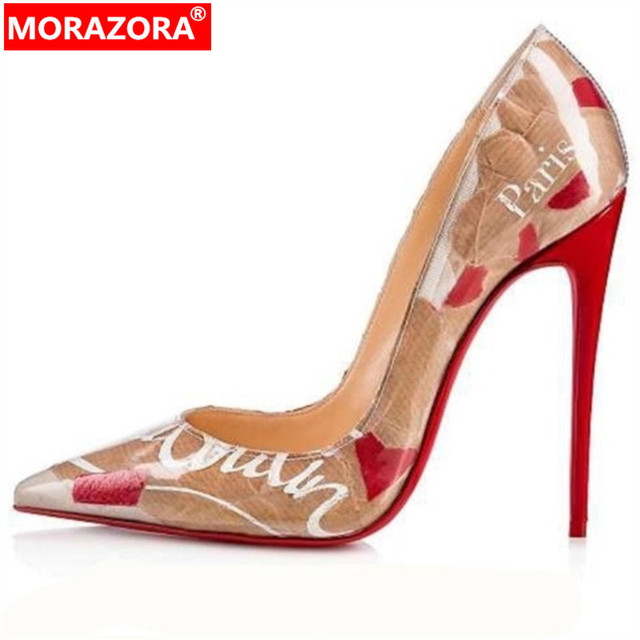 7c5d5f9d32 MORAZORA 2019 Marca de Moda finos sapatos de salto alto mulher casamento  sapatos de festa senhora bombas bombas sapatos escorregar no verão mulheres