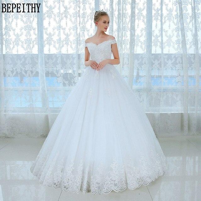BEPEITHY Vestido de noiva Lace Off The Shoulder Tulle Bride Wedding ...