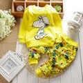2017 nueva Primavera 2 Colores Ropa de Bebé Conjuntos Niños Niños Cabritos de las muchachas Se Adapta A Chándales de Algodón Camisa de Manga Larga + Pantalones 2 unids