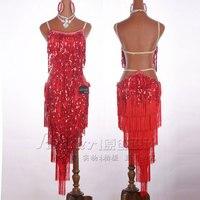 Customized New Latin dancer sequins dress performance Lomba fringe dresses woman freeshipping