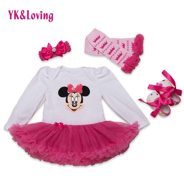 Free Shipping Baby Girls Dress Cartoon Print Girl Vestidos Set Longsleeve Dress Ruffle Tutu Baby Dress High Guality 2017