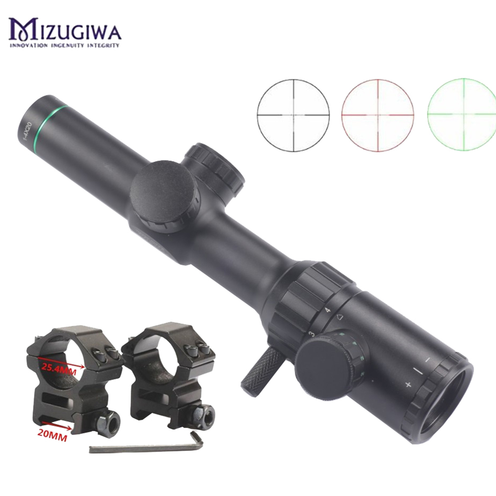 Hunting Air Rifle Scope Green Red Illuminated 1 4x20 BDC Reticle Rifle scope Sight with 25