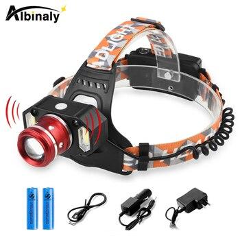 Яркий движения тела Сенсор светодиодный налобный фонарь 8000 Люмен L2 налобный фонарь с регулируемым зумом, водонепроницаемая лампа + 18650 бата... >> Albinaly XML-T6/L2 Flashlight Store