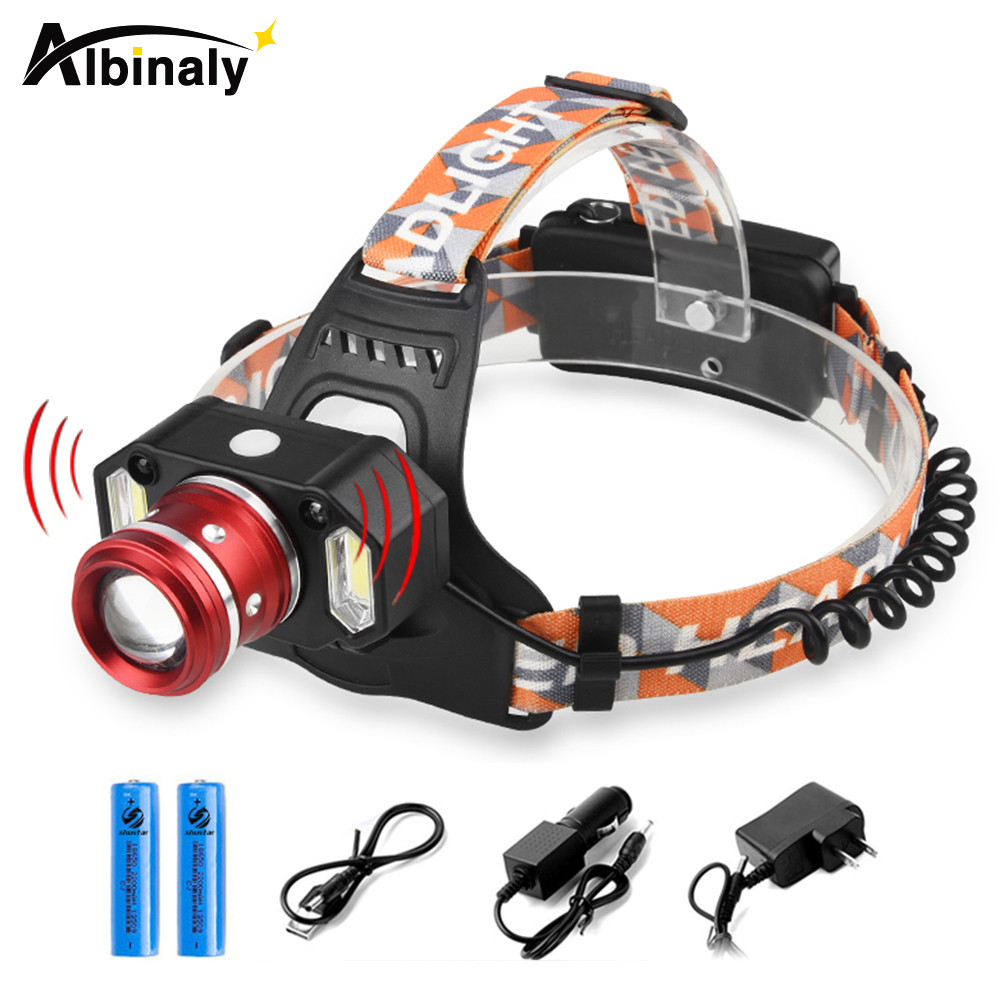 Bright Body Motion Sensor Led headlamp 8000 lumens Cree XM-L2 headlamp zoomable headlight waterproof head lamp + 18650 batteries