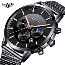 LIGE Fashion Chronograph Sport Mens Watches Brand Luxury Quartz Watch Men All Steel Waterproof Business Clock relogio Masculino lige fashion clock mens watches top brand luxury casual quartz watch men business stainless steel waterproof sport chronograph