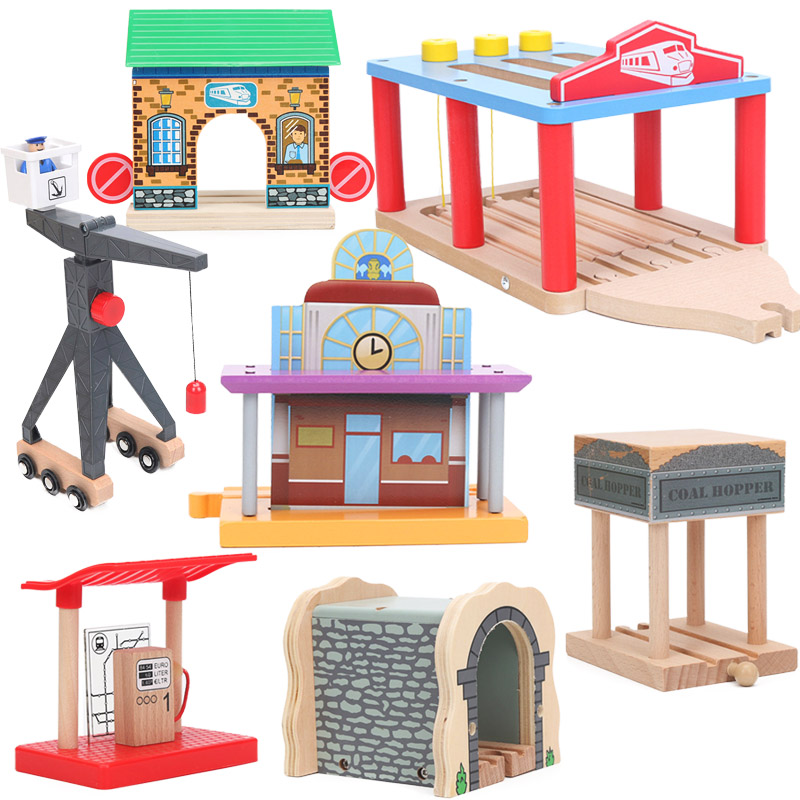 Friends Wood Train Toy Clock Platform Coal station Cave Tunnel Crane Wooden Train Accessories Track Pieces Blocks Toys