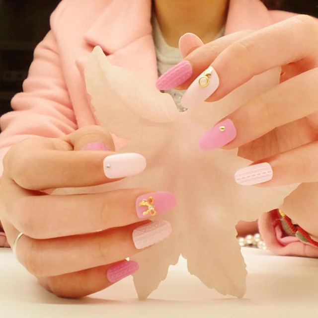 New Arrival Exquisite 24pcs 3d Fake Nails Designer Nail Tips Long