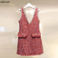 Autumn new V neck slim vest dress tweed autumn and winter new 2018 female sleevelss beaded pocket tassel patchwork mini dress
