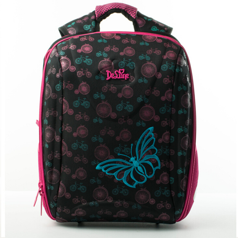 Delune School Bag Children Burden Reducing School Backpack Owl Print Orthopedic 3D Embossed Girls Backpack 3-5 Class Student