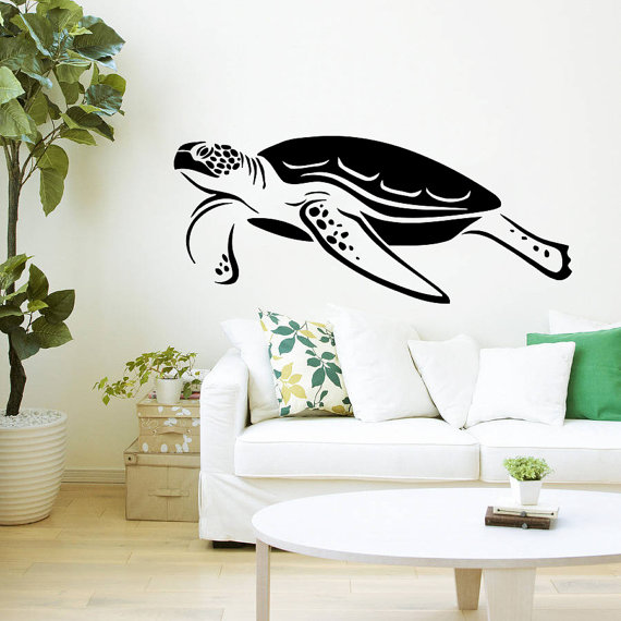 Swimming Turtle Sea Animals Water Tortoise Tortoiseshell Fashion Style Wall Sticker Home Bedroom Living Room Art Decor Y 915 in Wall Stickers from Home Garden