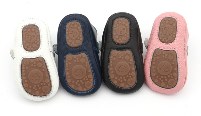 2017 babe Boys Girls leather Mary jane Moccasins Infant soft leather First walkers solid Rubber Prewalkers baby shoes