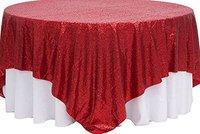 Оптовая продажа 10pcs120 Круглый красный блесток Скатерти для свадебного стола льняной блестками Таблица крышка для Свадебные украшения
