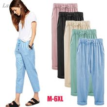 2018 Wide Leg Pants Harem Pant Female Trousers Casual Spring Summer Loose Cotton Linen Overalls Pants Plus Size 3XL 4XL 5XL 6XL цена 2017