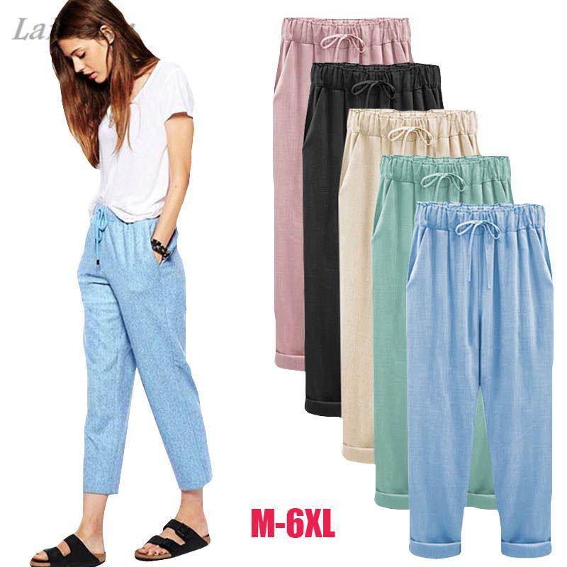 2018   Wide     Leg     Pants   Harem   Pant   Female Trousers Casual Spring Summer Loose Cotton Linen Overalls   Pants   Plus Size 3XL 4XL 5XL 6XL