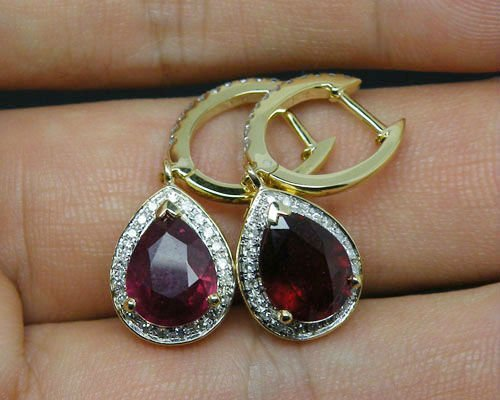Pear 6x8mm Solid 3 62Ct 14Kt Yellow Gold Natural Heated Blood Red Ruby Drop Earring Diamond.jpg 640x640 - Pear 6x8mm Solid 3.62Ct 14Kt Yellow Gold Natural Heated Blood Red Ruby Drop Earring,Diamond Ruby earring For Sale
