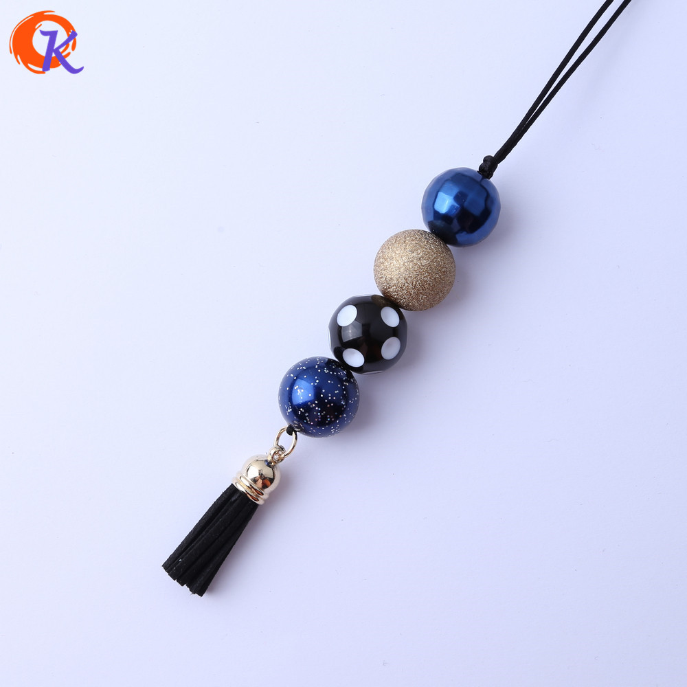 Cordial Design Fashionable Handmade DIY Jewelry Chunky Bubblegum Royal Blue Beads Black Tassels Pendant Chain Necklace CDLN-0006
