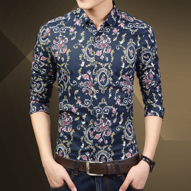 2017 new spring autumn men fashion floral shirts men high quality ...