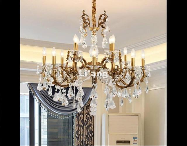 8l D83cm European Bronze Chandelier Antique Brass Crystal Lamp Re Light Fixture Villa Cristal