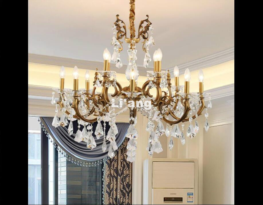8L D83cm European Bronze Chandelier Antique Brass Crystal Chandelier Lamp Crystal Lustre Light Fixture Villa Cristal Lighting