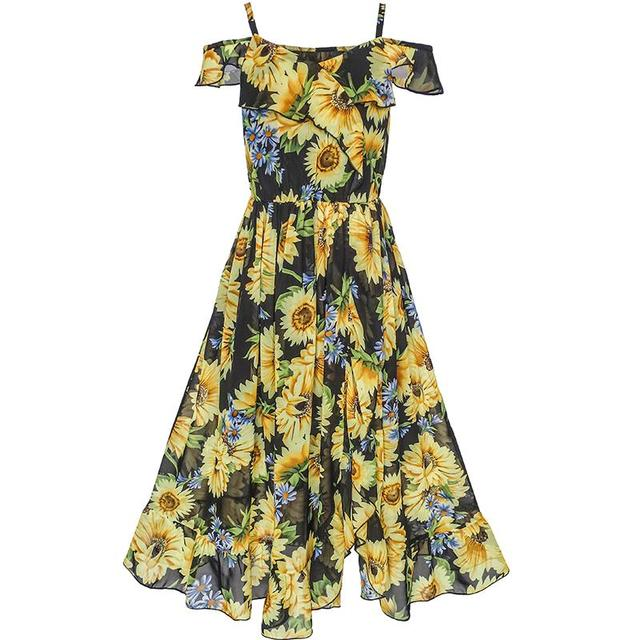 S Dress Chiffon Sunflower Ruffle Cold Shoulder Maxi 2018 Summer Princess Wedding Party Bohemian Kids