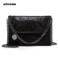 2016 New Women Message Bag Pu Fashion Portable 2 Chains Bag Woven Shoulder Bag Bolsa Feminina