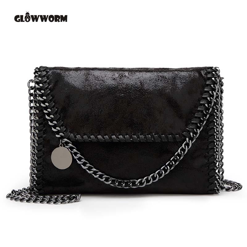 2017 New Women Message Bag Pu Fashion Portable 2 Chains Bag Woven Shoulder bag bolsa feminina carteras mujer stella handbags