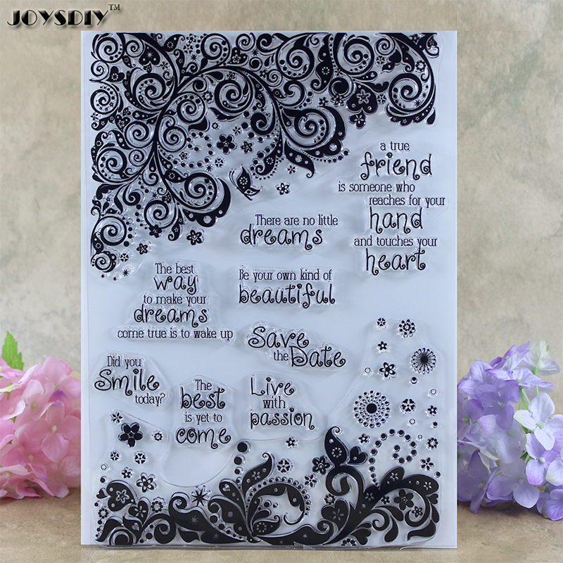 Flower Frame With Blessing Scrapbook DIY photo cards account rubber stamp clear stamp transparent stamp Card Stamper 21.5*15.5CM spider texture background scrapbook diy photo cards account rubber stamp clear stamp transparent stamp handmade card stamp