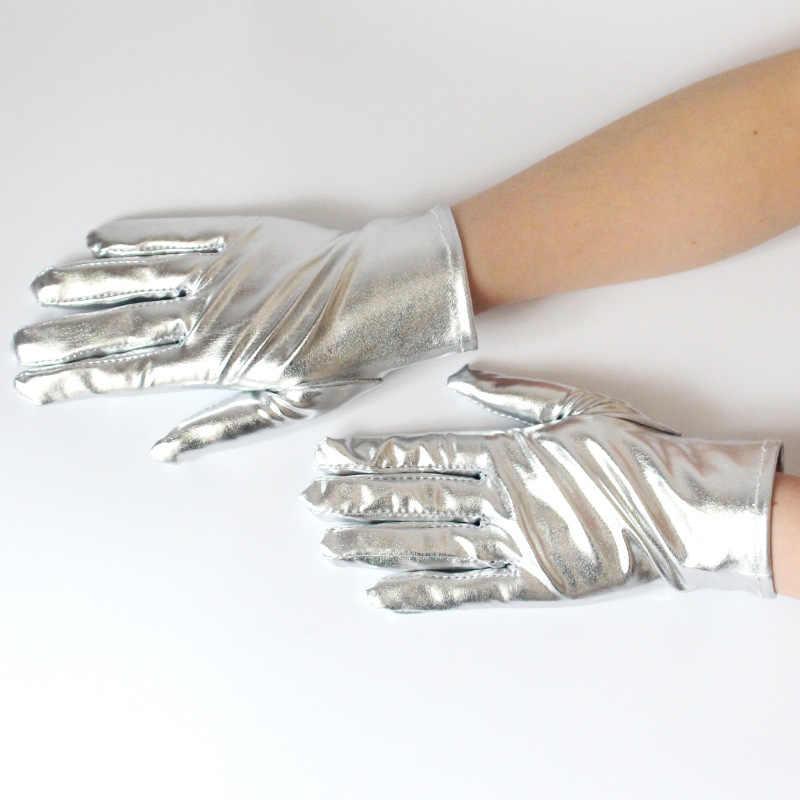 1 paar Zilverkleurige Sexy Pols Lengte Latex Handschoenen Vrouwen Wetlook Nep Leer Metallic Handschoen Avond Party Stage Performance Wanten