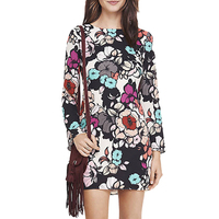Xinbeauty Fashion Floral Dress Long Sleeve O Neck Sexy Back Hollow Flower Printed Patterns Loose Casual