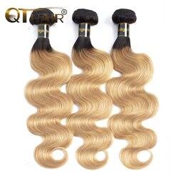 Отбеливатель QT, светлые человеческие волосы с эффектом омбре, 3 пряди, темные корни T1B/27, предварительно окрашенные перуанские волнистые вол...