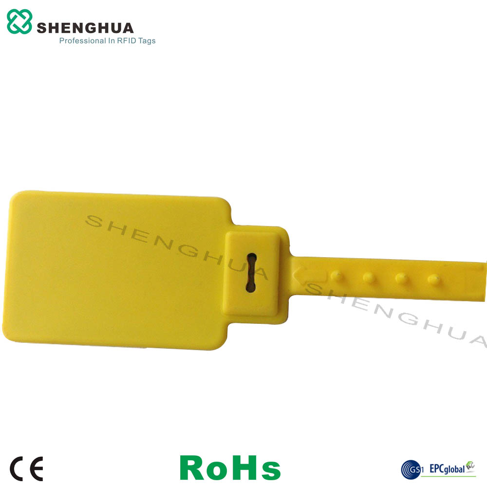 10pcs/pack Yellow Flexible Cable Ties 860-960Mhz Uhf Rfid Label Customized Logo Printed Plastic Marker Cable Zip Ties With Tags