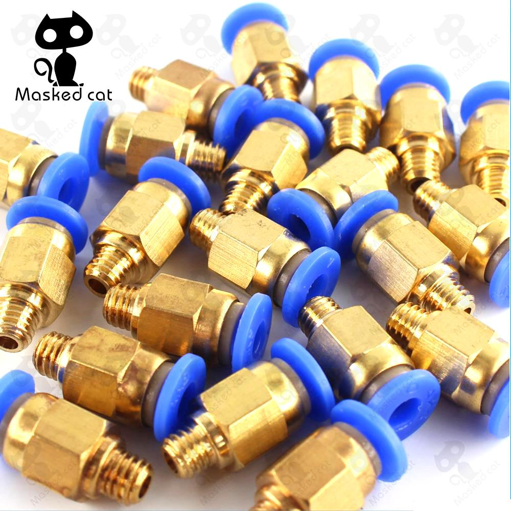 купить 10pcs/lot 3d peinter parts Pneumatic Fittings PC4-M6 Bore 4.5mm For 4mm PTFE Tube connector Coupler 3d printer accessories по цене 93.84 рублей