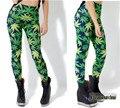 De las mujeres Elásticos Apretados Pantalones 3D Impreso Hojas de Moda de Fitness Pantalones del Estilo de Europa de Las Mujeres Pantalones