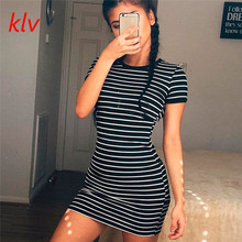 KLV 2017 Harajuku Women Summer T shirt Sexy Short Sleeve Striped T-shirt Party Crew Neck Bodycon Beach