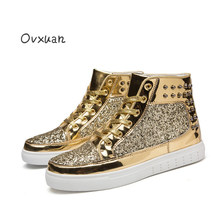 Ovxuan Glitter Sequins High Top Sneakers Moccasins Male Shoes Italian Fashion Party Men Dress Shoes Flats Casual Sneakers Boots(China)