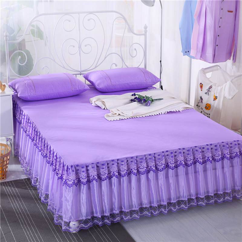 White Pink Purple Lace Bed Skirt Princess Bedding Queen Solid Color 1 3pcs Bedspreads Girls